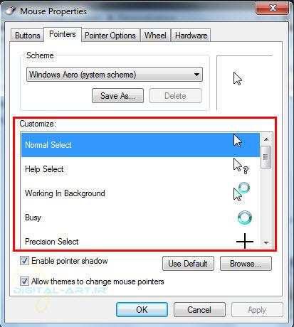 آموزش سفارشی سازی نشانگر موس در ویندوز 7 - عکس چهارم