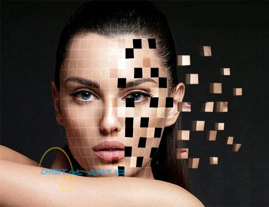 آموزش ایجاد افکت تخریب بلوکی صورت در فتوشاپ-21