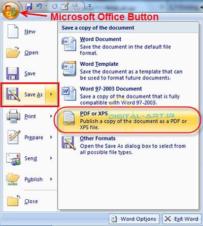 آموزش تبدیل فایل های ورد به pdf -عکس1