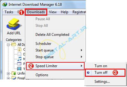 محدود کردن سرعت دانلود در اینترنت دانلود منیجر-05