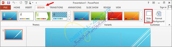 آموزش تغییر سایز و جهت قرارگیری اسلایدها در پاورپوینت-01